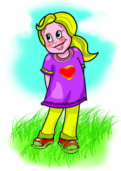 Illustration of little girl