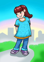 Illustration of cute little girl