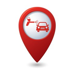 Map pointer with car and paint sprayer icon