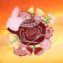 Hand-drawn marsala teapot and roses on a warm sky at sunset