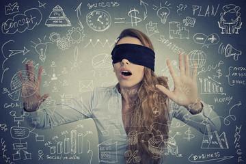 Blind woman making plans navigating through social media