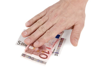 Single hand on the Euro banknotes isolated