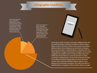 Infographic elements with smartphone and orange diagram
