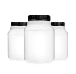 Three plastic jars isolated
