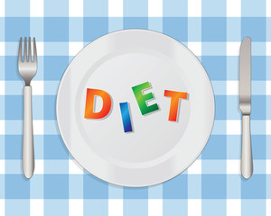 Diet Cocept with a Plate, Knife and Fork