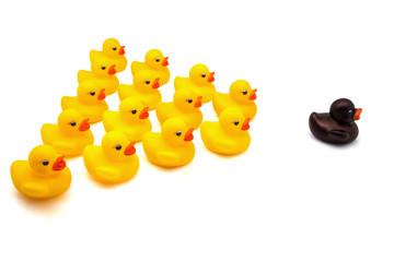 escuadrón de patos de goma