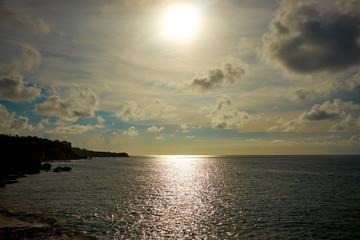Amazing  beach destination sunrise or sunset with beautiful brea
