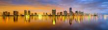 """Постер, картина, фотообои """"Miami, Florida Biscayne Bay Skyline Panorama"""""""