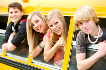 School Bus: Cool Kids Leaning Out of Bus Window