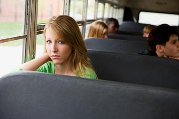 School Bus: Sad Teenager On the School Bus