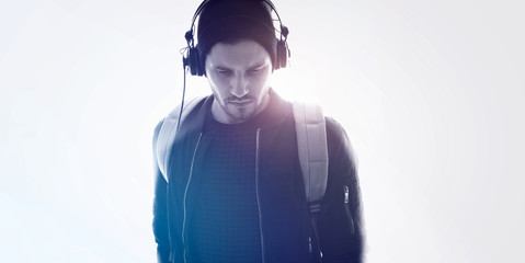 Young male with headphones