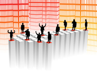 Illustration of business people and arrow graph