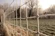 canvas print picture - Frostiger Zaun am Morgen