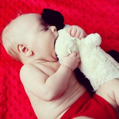 Hungry baby eat toy beautiful love