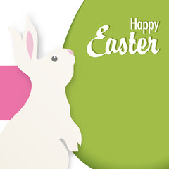 Happy Easter vector illustration with Bunny.