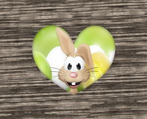 Easter Bunny Heart Wood Design