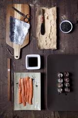 overhead shot of prepared hosomaki sushi on plate