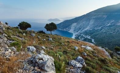 Top morning view of Myrtos Beach (Greece,  Kefalonia).