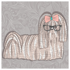 Hipster shih tzu with glasses and bowtie. Cute puppy illustratio
