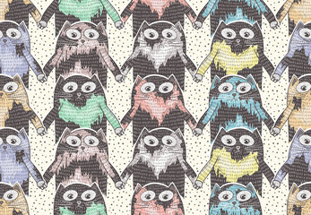 Seamless pattern with cute cats for children or kids