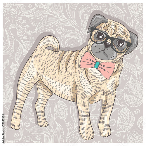 Hipster pug with glasses and bowtie. Cute puppy illustration for - 77955328