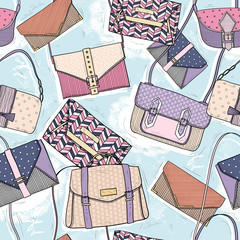 Cute seamless fashion pattern for girls or woman. Background wit