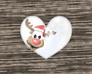 Reindeer Christmas Heart Wood Design