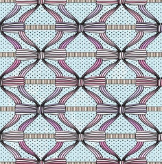 Seamless fashion pattern with bows. Polka dot background.