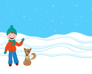 funny boy with a dog in winter