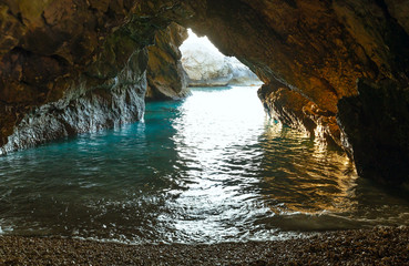 Cave with sea waterv (Greece,  Kefalonia).