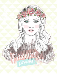 Young girl fashion illustration. Pastel fashion trend. Girl with