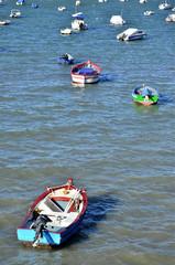 Barcas fondeadas en la Bahía de Cádiz.España