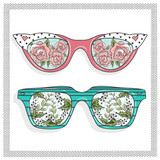 Vintage sunglasses with cute floral print for him and her. - 77955921