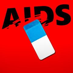 Eraser erasing the word AIDS