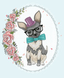 Cute hipster dog and flower frame. - 77956119