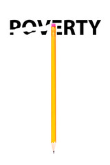 Pencil erasing the word POVERTY