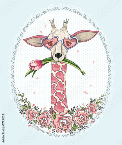 Cute hipster giraffe background with floral frame. - 77956128