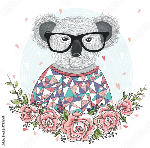 Cute hipster koala with glasses and flower frame. - 77956169