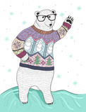 Cute hipster polar bear with glasses and christmas sweater - 77956376