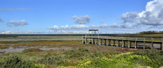 Embarcadero en la Bahía de Cádiz.España