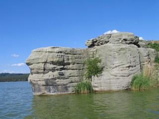 Rock in the water, northern Bohemia, Machovo jezero