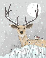 Cute reindeer and bird christmas night background.
