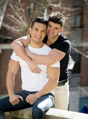 young happy gay men couple on street free homosexual love