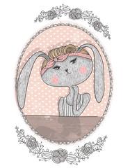 Cute bunny illustration for children. Hipster rabbit. Flower fra