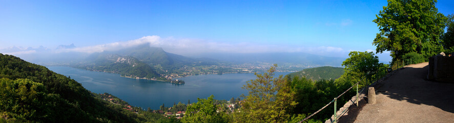 Panorama of Annecy lake in France