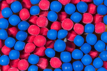 blue and red head matchsticks