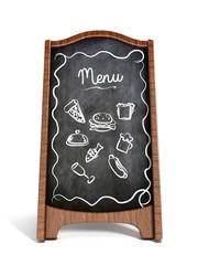 Restaurant blackboard display isolated