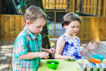 Boy Dyes his Easter Egg Green