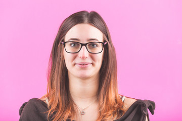 Young Woman Portrait on Fuchsia Background.
