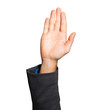 Businessman hand raised isolated on white